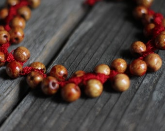 Unique Crocheted Necklace with Red Nylon Thread and Painted Wooden Beads