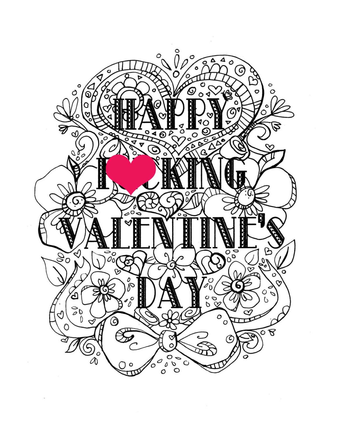 Curse Coloring Page Adult Coloring Page Valentine's Day Valentine Day Coloring Pages For Adults