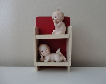 VINTAGE handmade small red and white wood SHELF