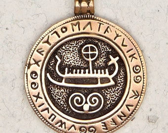Norse Viking Ship w/ Runes-Bronze-Pagan-Medieval-Nautical-Scandinavian-Pendant-Jewelry