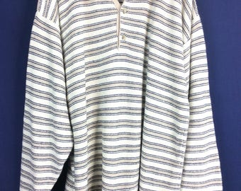 Vintage cotton knit men's summer sweater beige with tan and black stripe size extra large long 100% cotton made in the USA Bass label