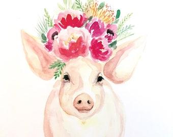 Peony Pearl, pig, piglet Watercolor  PRINT