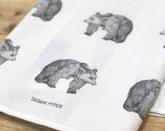 Bears All Over Tea Towel, designed & made in the UK