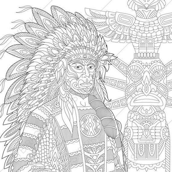 native american indian chief 3 coloring pages for
