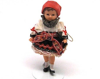 Vintage German Doll, Swiss, Miniature, Dollhouse Doll,German Folk Doll, Character Doll, Jointed, Ornament, Souvenir, c1970