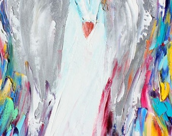 Angel of Hope painting original palette knife oil paint impressionism on canvas 10 x 20 art by Karen Tarlton