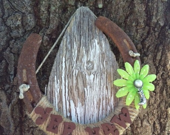 Rustic Yee Haw!  Horseshoe-Gift-Equestrian-Horse decor-Country Western-Good luck