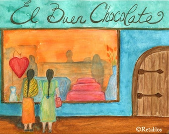 Proceeds Benefit Animal Rescue - Retablo Folk Art Retablo - Watercolor, Chocolate and Friendship, Orange and Blues, Ladies Shopping
