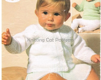 4ply Baby Knitting Pattern - 4 ply Jumper and Cardigan - 16 - 20 ins - PDF - Instant Download