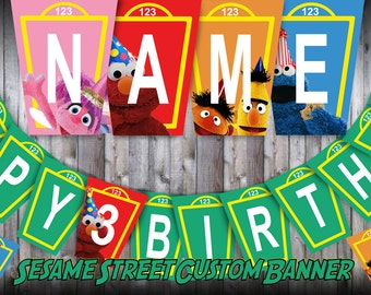 Personalized Sesame Street Birthday Banner, Elmo, Abby, Big Bird, Grouch, Burt Ernie, Abby, Cookie Monster, Bunting Banner, You Print