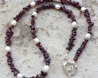 Garnet Chip Necklace,  Semi Precious Gemstone, Freshwater pearl, Karen Hill Tribe Silver, Sterling silver, January Birthstone, Gift for Her.