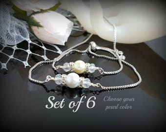 Set of 6  Bridesmaid Bracelet White Ivory Favor Wedding Gift Will you be my Bridesmaid? Wedding Jewelry Bolo Adjustable Slide Bracelet