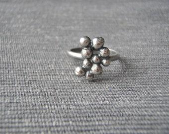 Statement ring, size K, bobble texture, oxidized black silver. FREE UK POSTAGE