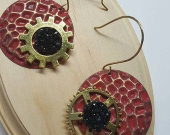 Red Steampunk Textured Earrings