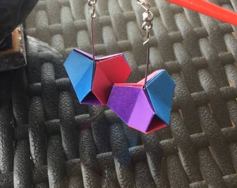 Geometric colourful origami jewellery - angular earrings