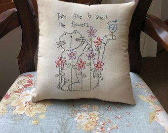 Spring Kitty Cat Flowers Embroidery Pillow - Primitive Stitchery Pillow - Blue Bird - Farmhouse Decor - Spring Decor - Mother's Day - Gift