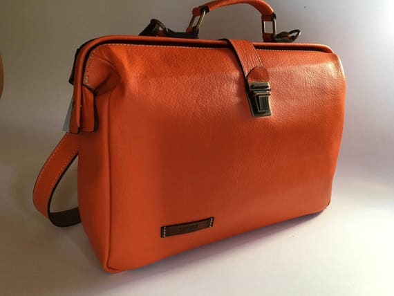 Woman Leather Briefcase, Woman Handbag, Woman Leather Bag, Orange Leather Bag, Handmade Leather briefcase