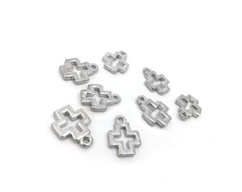 Metal Cross Charm Pendant, Rhodium Plated, Religious, 12x15, 8pc