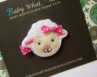 Sheep Hair Clip, Baby Hair Clippies, Farm Animal Girl Barrette, hcsheep01