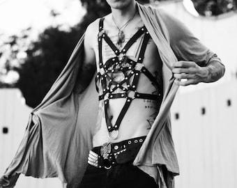 Men Leather Harness Pentagramm