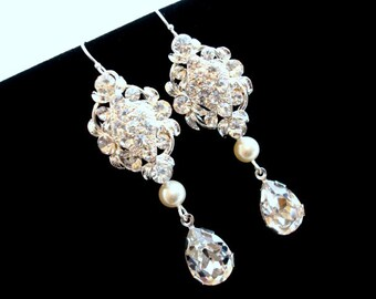 Rhinestone Wedding earrings, Crystal bridal earrings, Long Pearl earrings, wedding jewelry, bridesmaid earrings, Swarovski crystal earrings