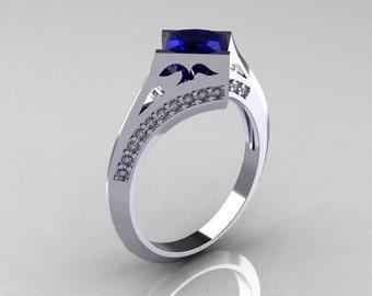 Modern French 10K White Gold 1.23 CT Princess Blue Sapphire Diamond Engagement, Wedding Ring R176-10WGDBS