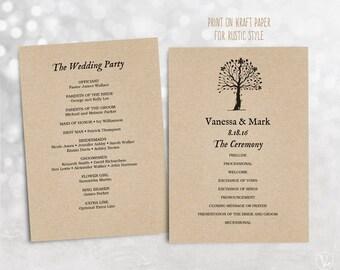 Wedding Program Template, Printable Wedding Programs, INSTANT DOWNLOAD, Editable Text, Rustic Tree