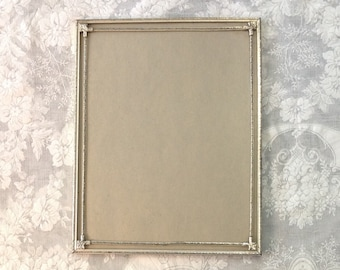 Large 11 x 14 embossed silver tone metal photo picture frame tabletop or wall bridal portrait romantic cottage style shabby chic home decor