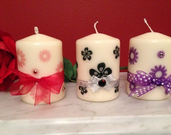 Ivory Vanilla Scented pillar Candle, Unique Handmade Gift, Birthday, Mothers day,