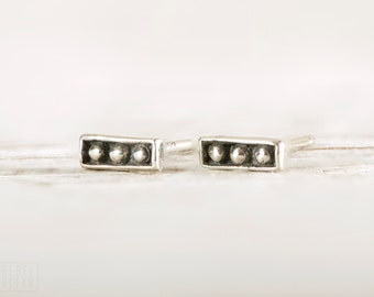 Silver Stud Earrings Sterling Silver Square Earrings Bohemian Jewelry - CST003SS