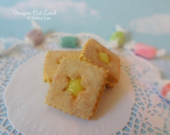 Fake Cookies Lemon Sandwich Linzer Tart Square Star