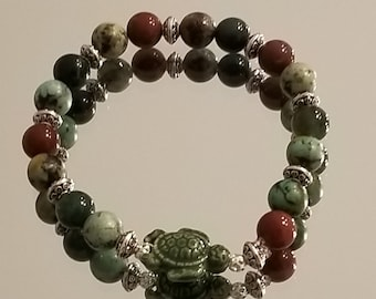 Agate & Turquoise Stretch Bracelet