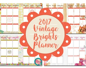 2017 Vintage Brights Weekly and Monthly Planner Insert and Sticker Bundle