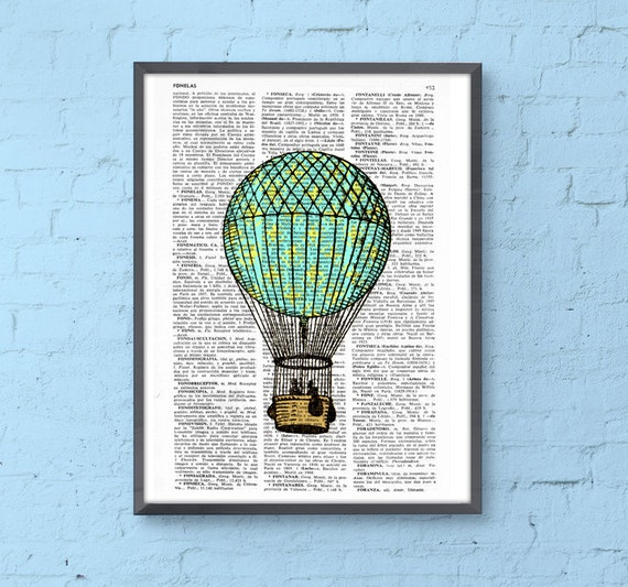 Classic Hot air balloon in turquise and yellow Book Print Dictionary sheet Balloon Print on Vintage Book art BPTV127b