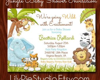 NEW Jungle themed Baby Shower Invitation PRINTABLE Digital File