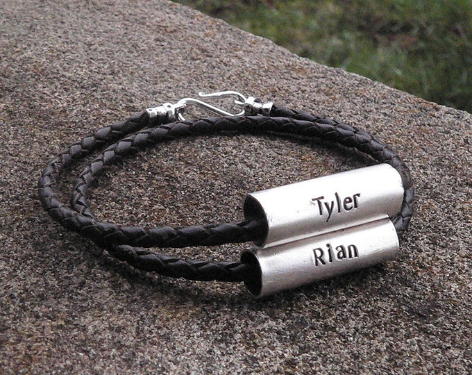 """Men's Latigo and Sterling Silver """"Tube"""" Double Wrap Bracelet - Custom Message or Names - Many Font Choices - Rustic and Durable"""