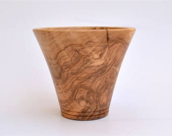 "Decorative Greek Olive Wood Vase,  10.7cm (4"" 7/32), Wooden, Home Decor"