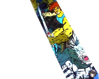 Thundercats painted bracelet - Lion-O and Bengali -handmade canvas comic book cuff