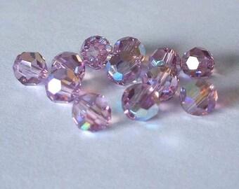 SWAROVSKI Beads 5000 Round LIGHT Amethyst AB
