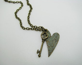 Blue Tarnished Key To My Heart Necklace