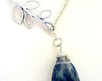 Blue Agate Pendant Necklace,Charm Lariat Statement ,Lariat Necklace, Branch necklace, Blue Drop necklace, Stone Pendant pendant