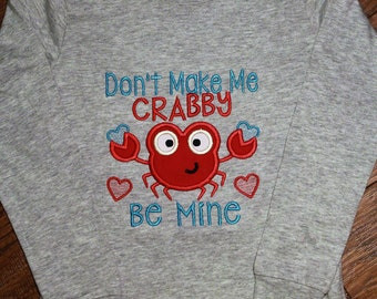 Valentine's Day shirt for boys,boy gray Valentine shirt,Crab shirt,Red heart shirt,Don't make me Crabby,Valentine party shirt for toddler
