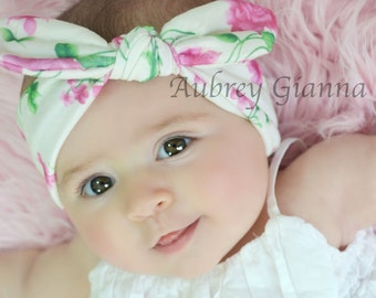 Floral Knotted Turban, Head wrap, Boho Headband, Baby headband, Newborn headband, Infant headband, Baby turban, Head wrap, knit headband
