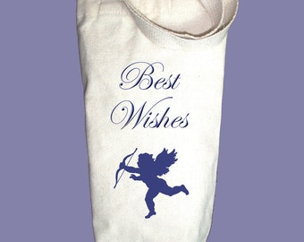 Best Wishes with Vintage Cupid Canvas Alcohol/Wine Gift Bag