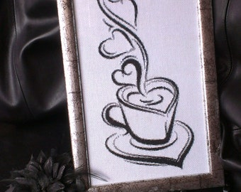 Embroidered picture - Coffee - Coffee with love - Home decor - Black white picture - Handmade cross stitch picture-Wall Hanging