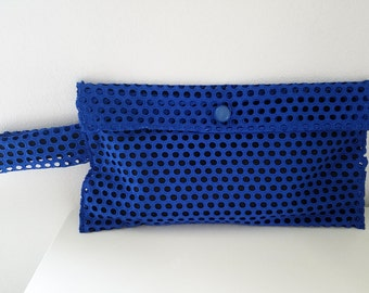 eyelet wristlet - clutch in bright blue eyelet fabric - wedding or special occasion purse - black and blue summer wristlet - morgan clutch