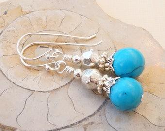 Turquoise blue earrings, gemstone earrings, turquoise magnesite earrings, turquoise and silver earrings