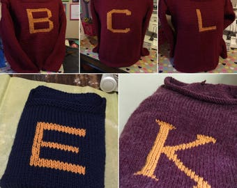 Hand Knitted Customized Monogram Sweater