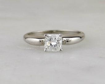 Vintage Retro Engagement Ring with New Square Cut Diamond VDL1QH-N