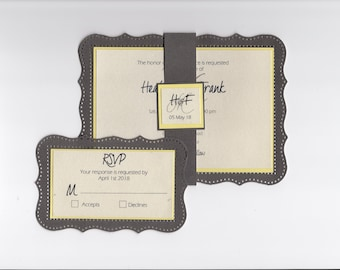 Elegant Wedding Invitation With Cut Border- Gray and Yellow - Multiple Color Invitations- Customize Your Own